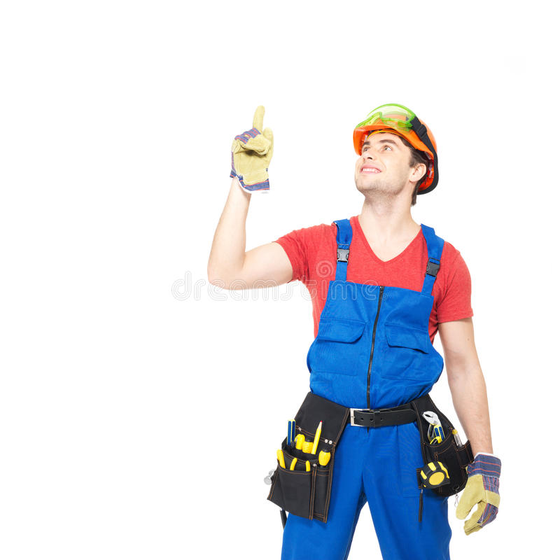Download Worker With Tools   Points Up With Finher Stock Image - Image: 29858565
