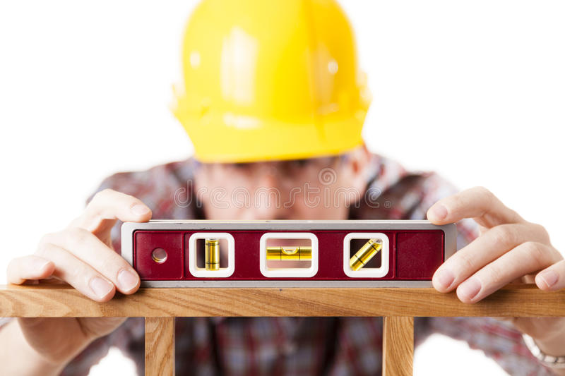Worker Using Level Stock Photos