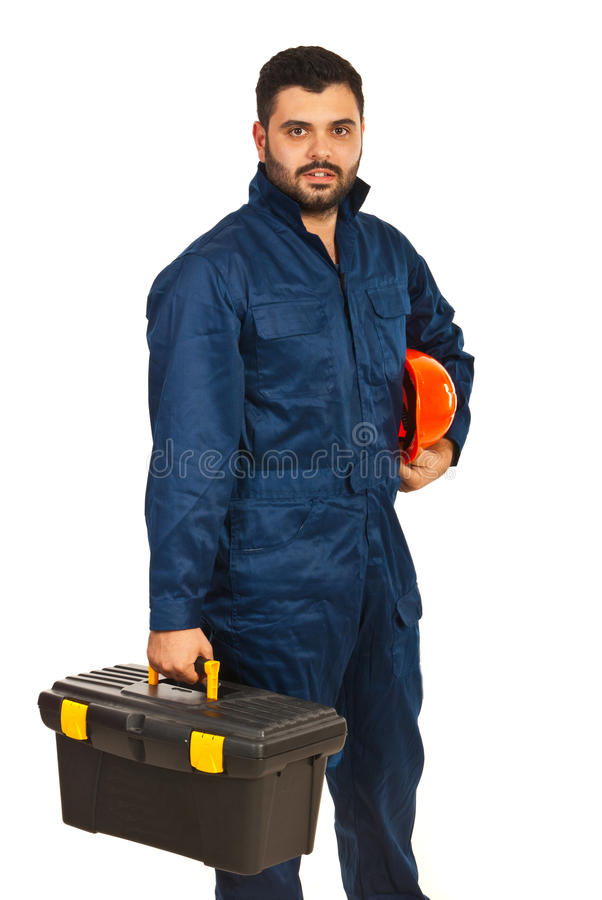 Worker with utensils box. Constructor worker holding box utensils isolated on white background stock photos