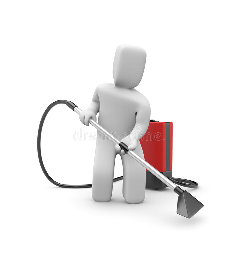 Worker with a vacuum cleaner stock illustration