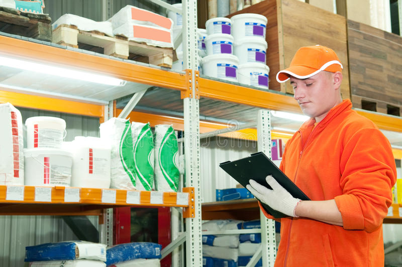 Worker at warehouse stock photo
