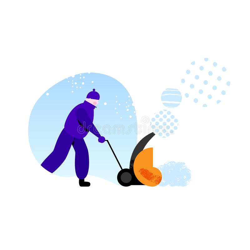 Janitor removing snow during snowfall. Worker in warm clothes using snow removal machine against piece of blue sky with snowfall stock illustration