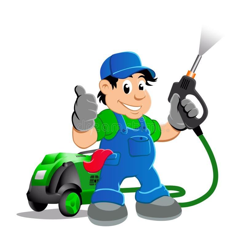 Worker with water blaster pressure. Power washing sprayer vector illustration