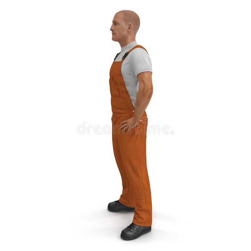 Worker Wearing Orange Overalls Suit Standing Pose. 3D Illustration, isolated vector illustration