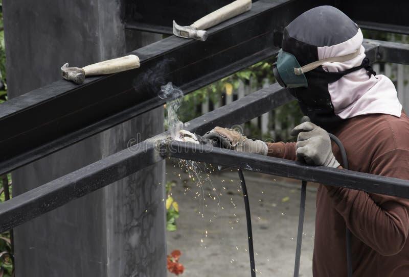Worker welding the steel royalty free stock photo