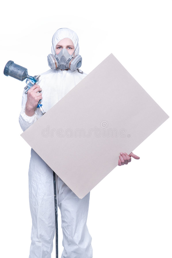 Free Worker With Airbrush Gun And Blank Royalty Free Stock Photos - 8316328