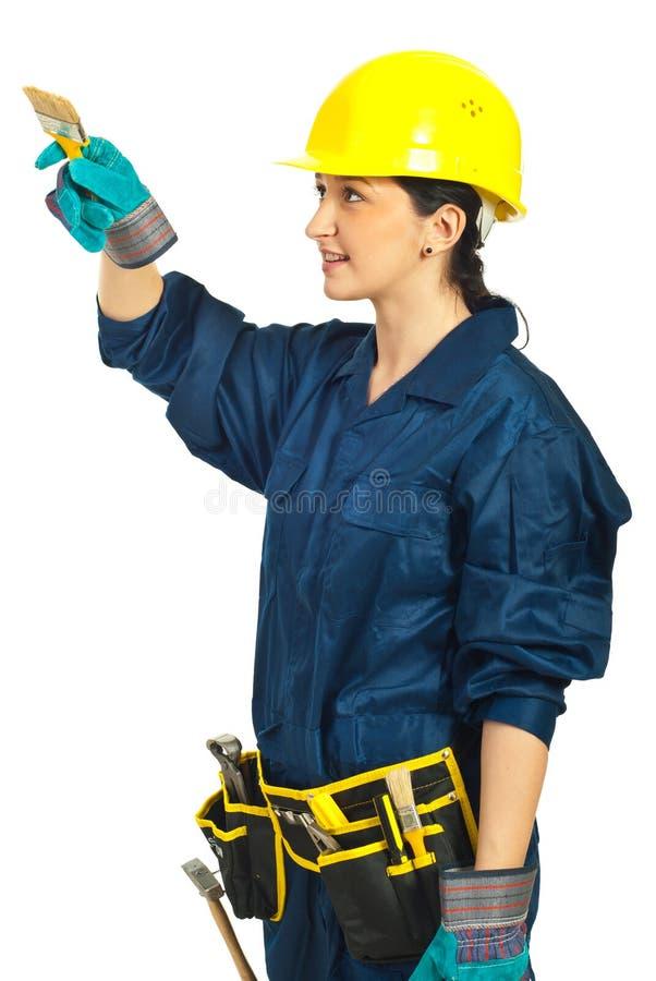 Worker Woman Holding Brush Stock Photo
