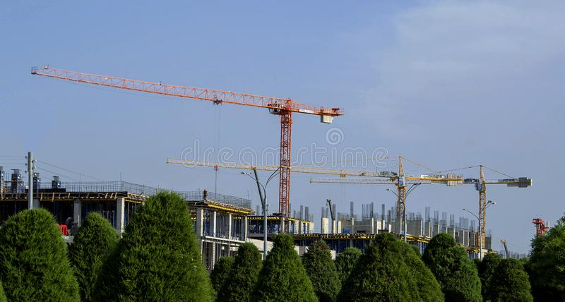 Construction of the new building stock photos