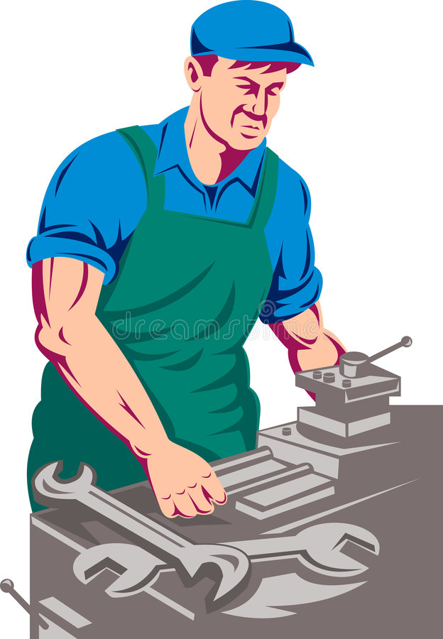 Worker working on lathe machine royalty free illustration