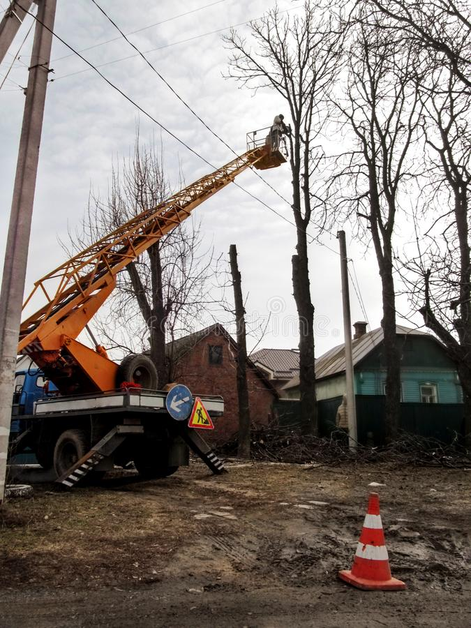 Workers on aerial work platform, on truck, prune tree branches among electricity lines in a village Ukraine. Pollarding process. Of bare trees using a bucket stock images