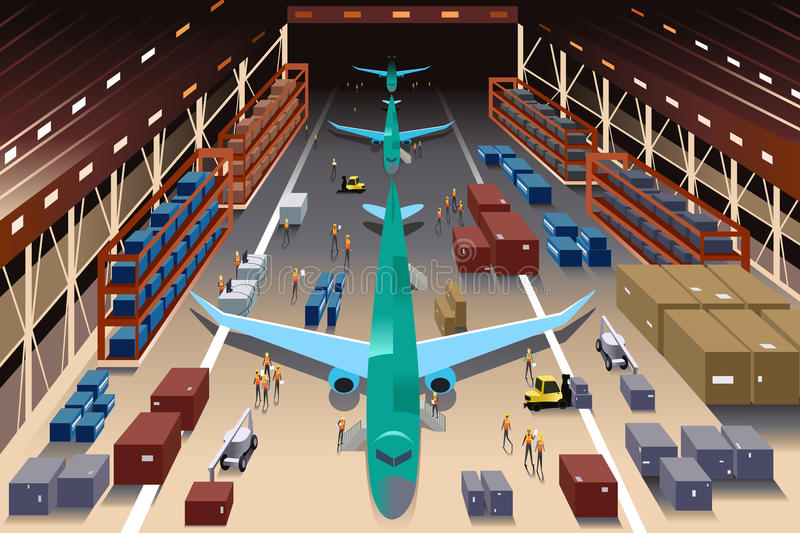 Workers in an airplane factory vector illustration