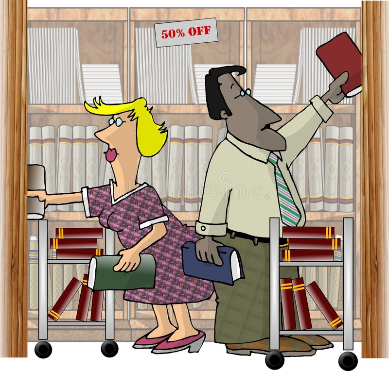 Workers in a Bookstore vector illustration
