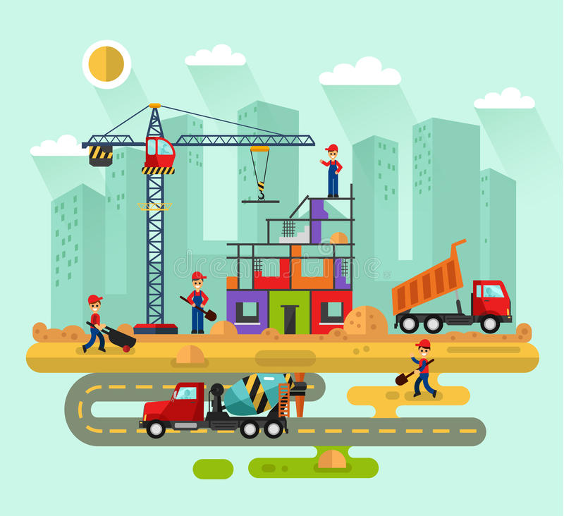 Workers build a house royalty free illustration