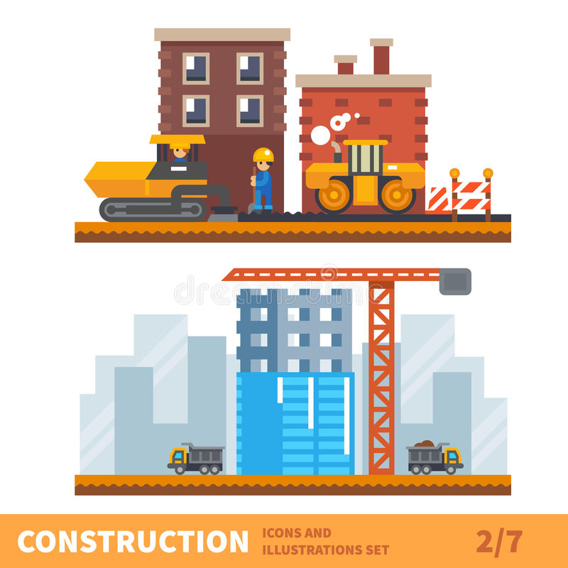 Workers building a house stock illustration