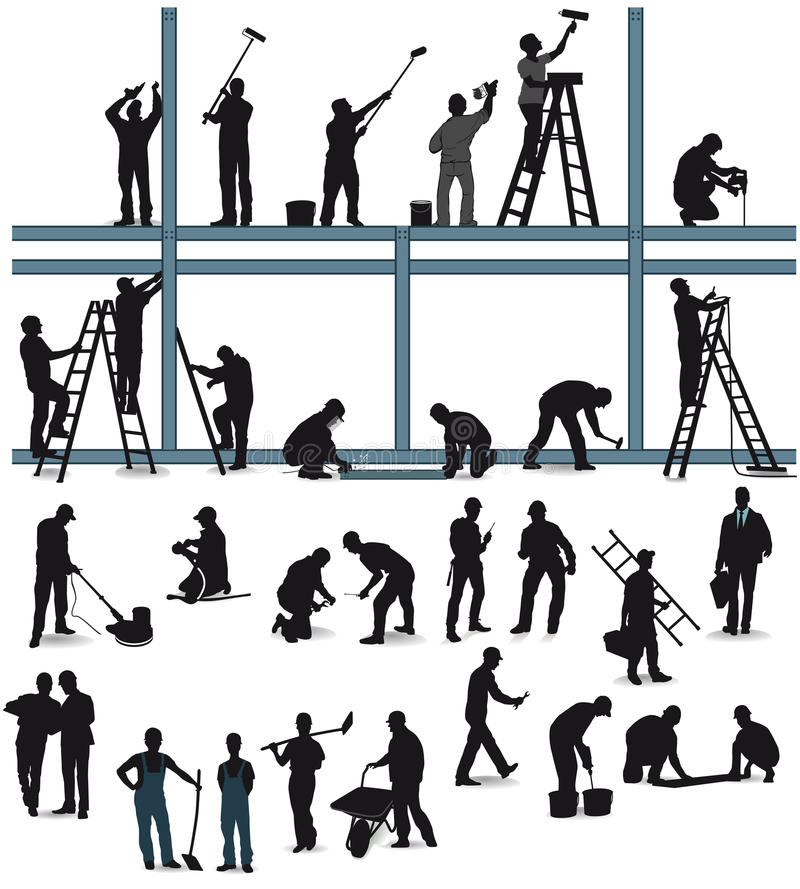 Workers in building trade vector illustration