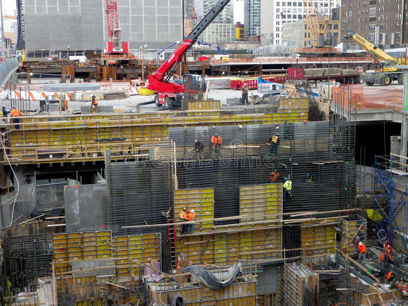 Workers Busy on a Construction Site. In New York City royalty free stock photography