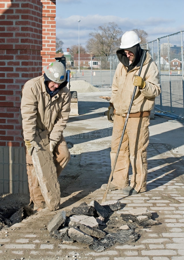 Download Workers Clearing Pavement stock image. Image of hard, gloves - 7721863