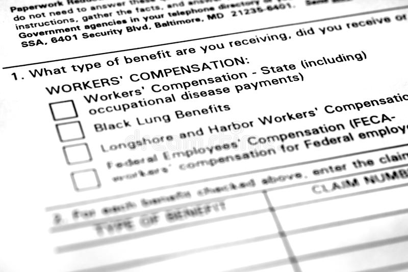 Workers Compensation Application Form Stock Photo  Image Of