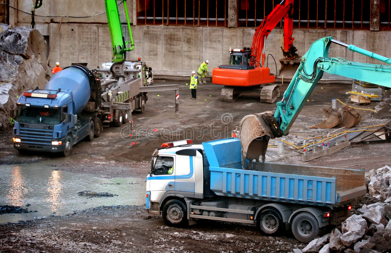Workers at the construction royalty free stock photography
