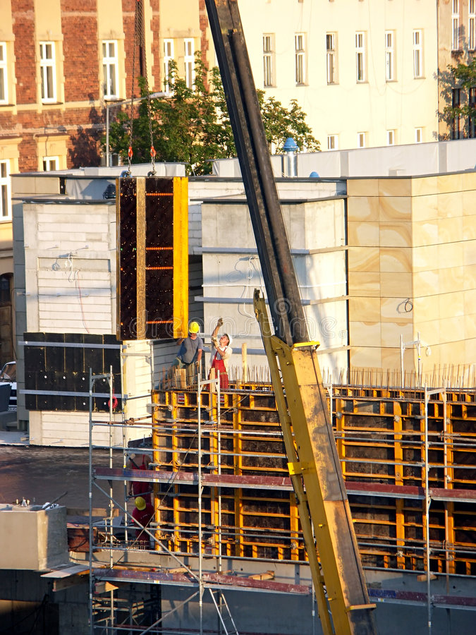 Download Workers At The Construction Site Stock Image - Image of lift, site: 163979