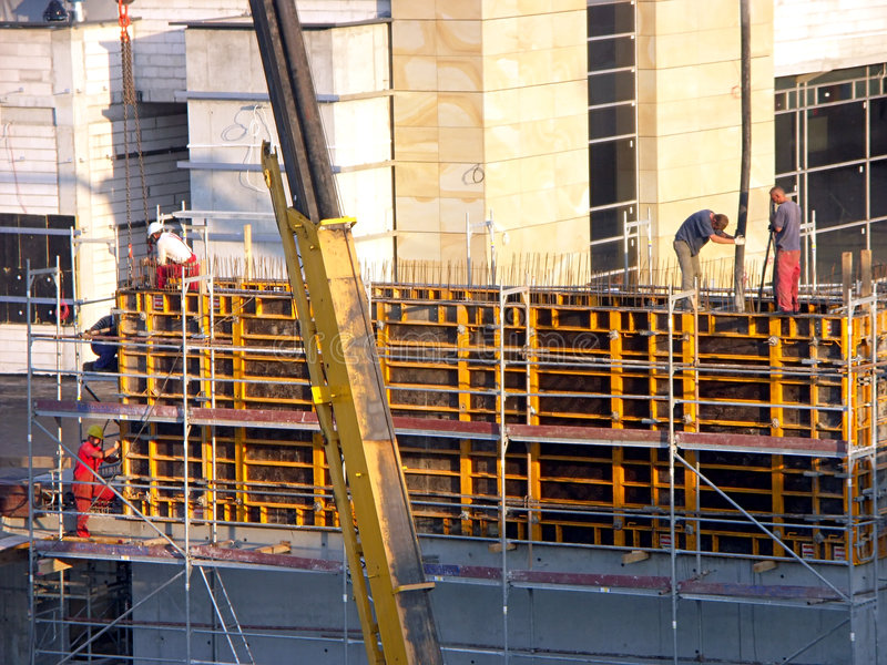 Download Workers At The Construction Site Stock Photo - Image of extension, concrete: 163982