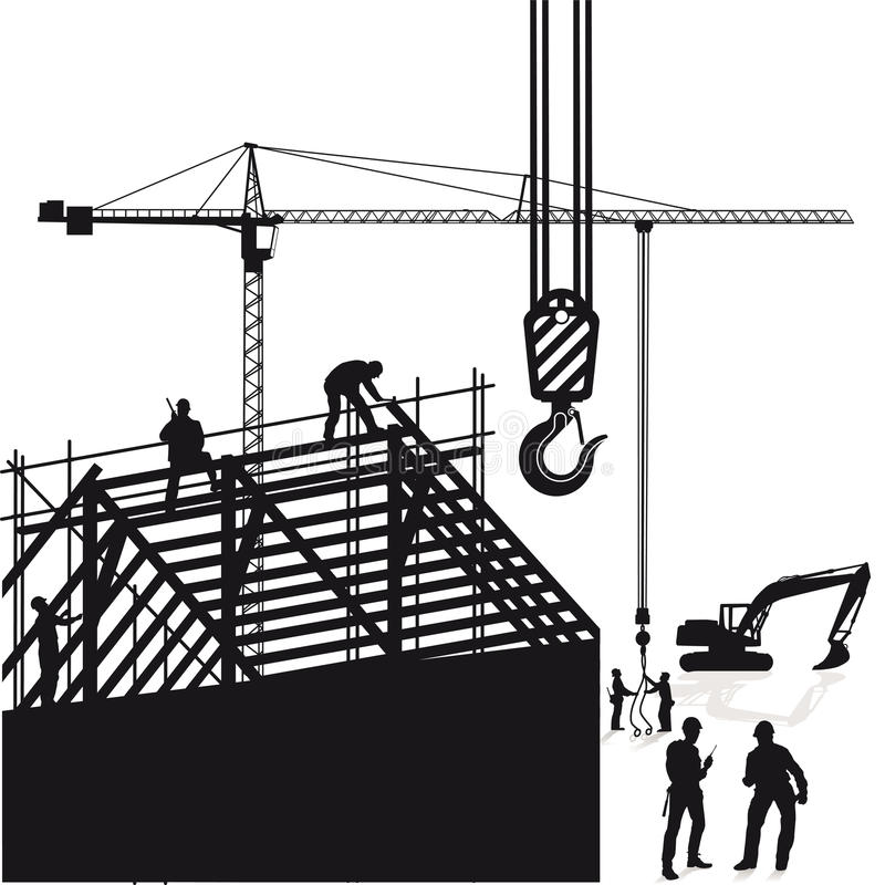 Workers on construction site royalty free illustration
