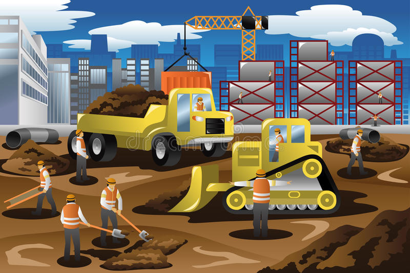Workers in a Construction Site. A vector illustration of workers in a construction site vector illustration