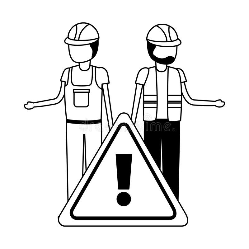 Workers contruction warning sign. Design vector illustration stock illustration