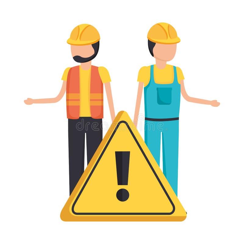 Workers contruction warning sign. Design vector illustration royalty free illustration