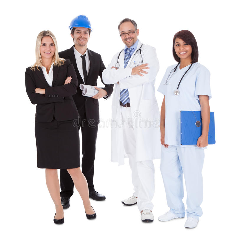 Workers of different professions together on white stock images