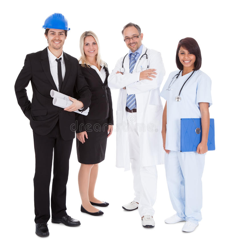 Workers of different professions together on white royalty free stock photo