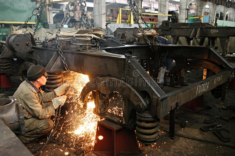 Workers at factory royalty free stock photos
