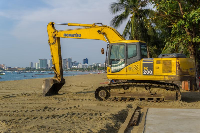 The workers finished the beach improvement project in Pattaya. PATTAYA,THAILAND - APRIL 10,2019:The beach The workers finished the beach improvement project.They stock images