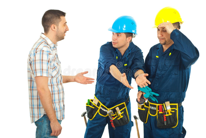 Download Workers Giving Explanations To A Client Stock Photo - Image: 18948370