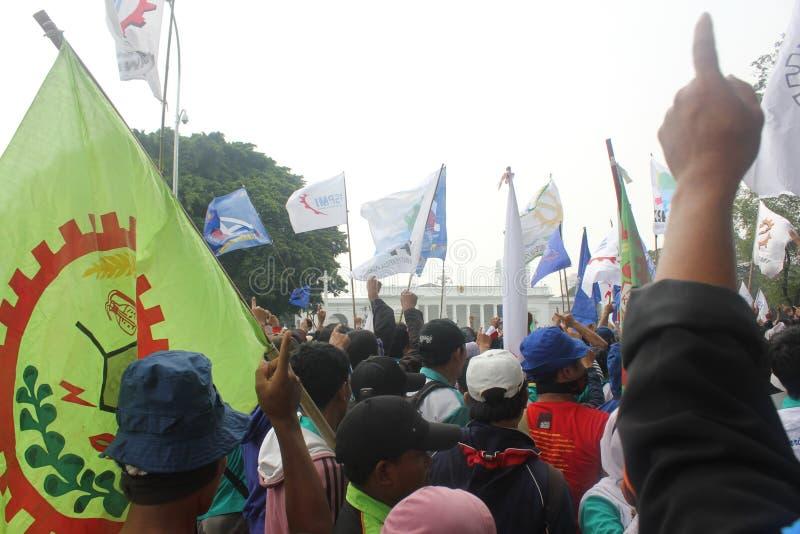 Workers held demonstration in Jakarta