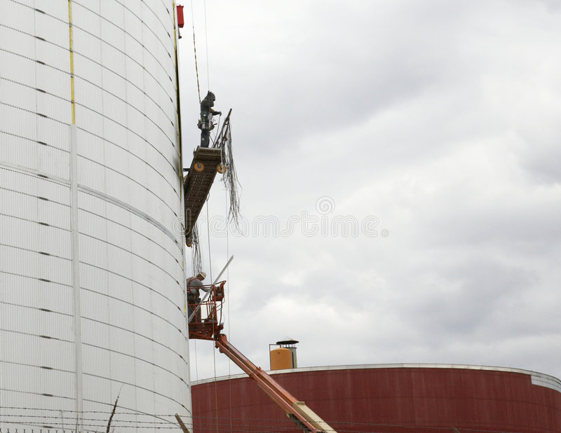 Workers on industrial plant stock photography