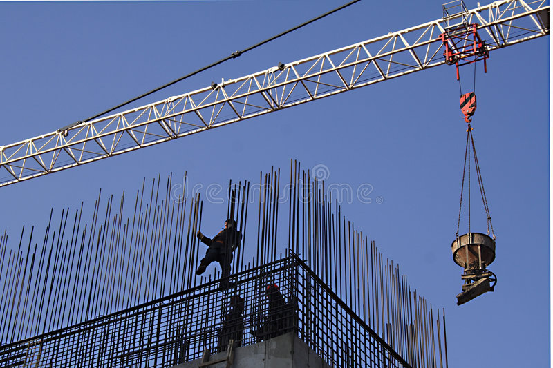Workers Install Armature Royalty Free Stock Images