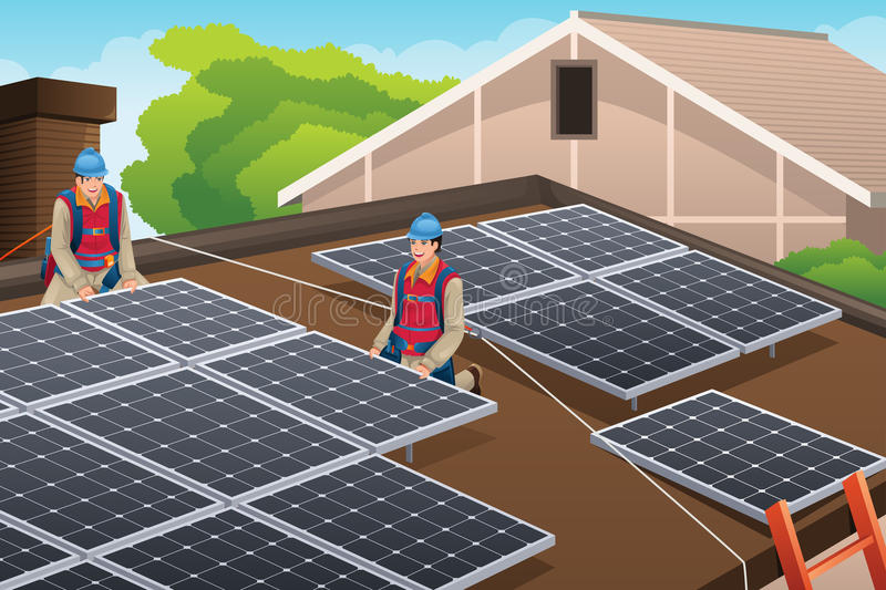 Workers Installing Solar Panels on Roof stock illustration