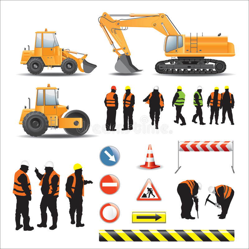 Workers and machines for road construction stock illustration