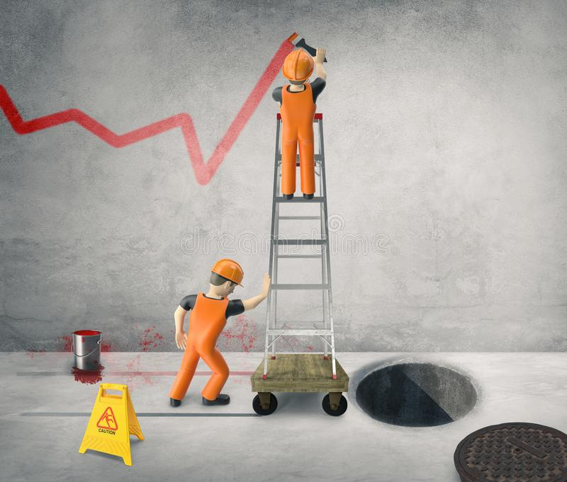 Workers paint the business cycle on the wall -3D-Illustration royalty free stock images