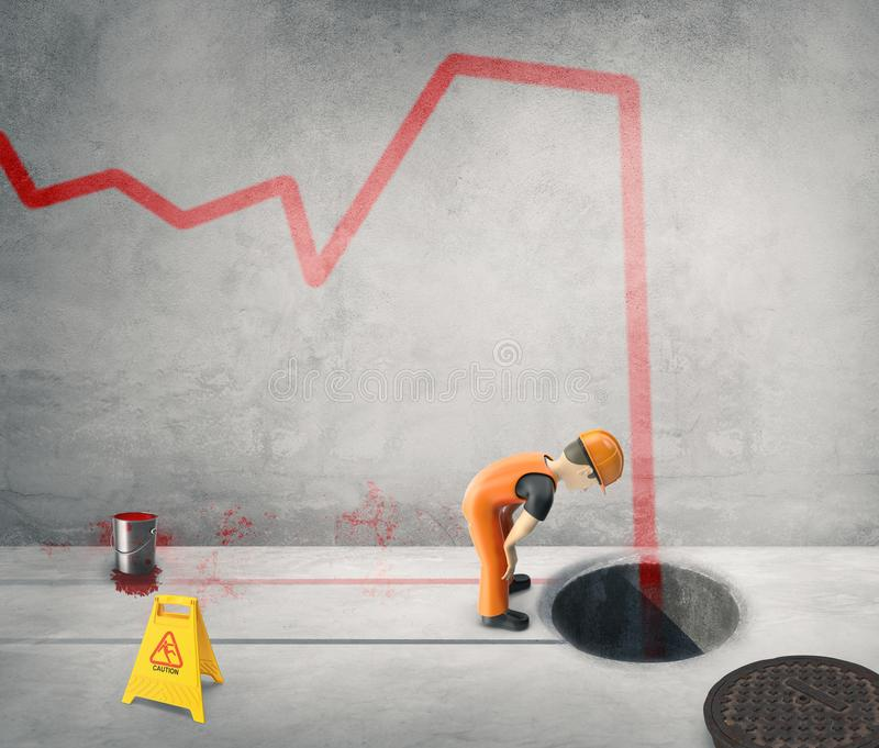 Workers paint the business cycle on the wall -3D-Illustration royalty free stock photo