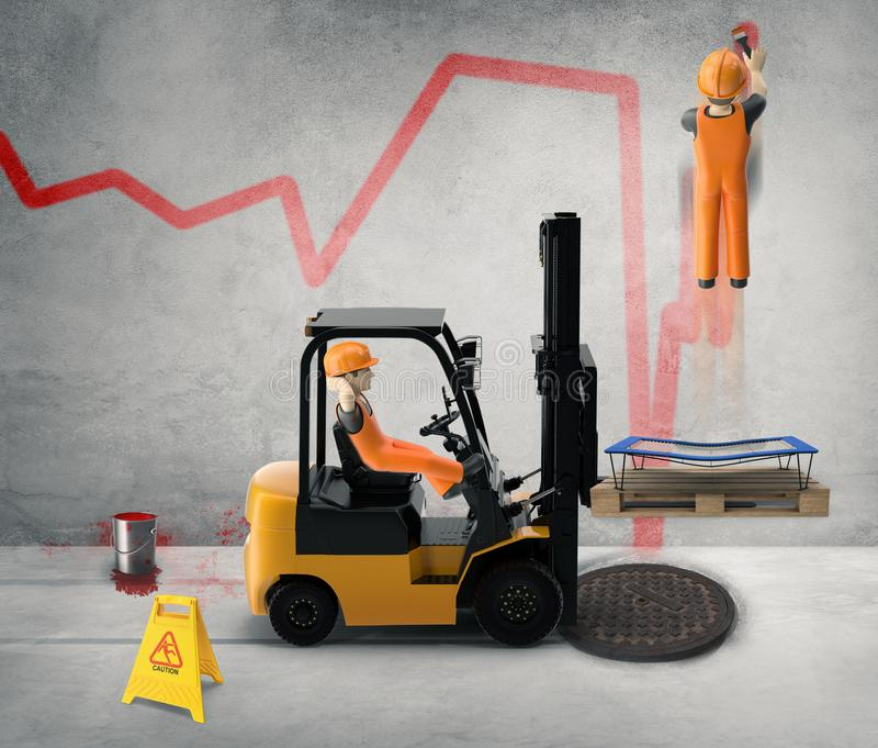 Workers paint the business cycle on the wall -3D-Illustration stock photos