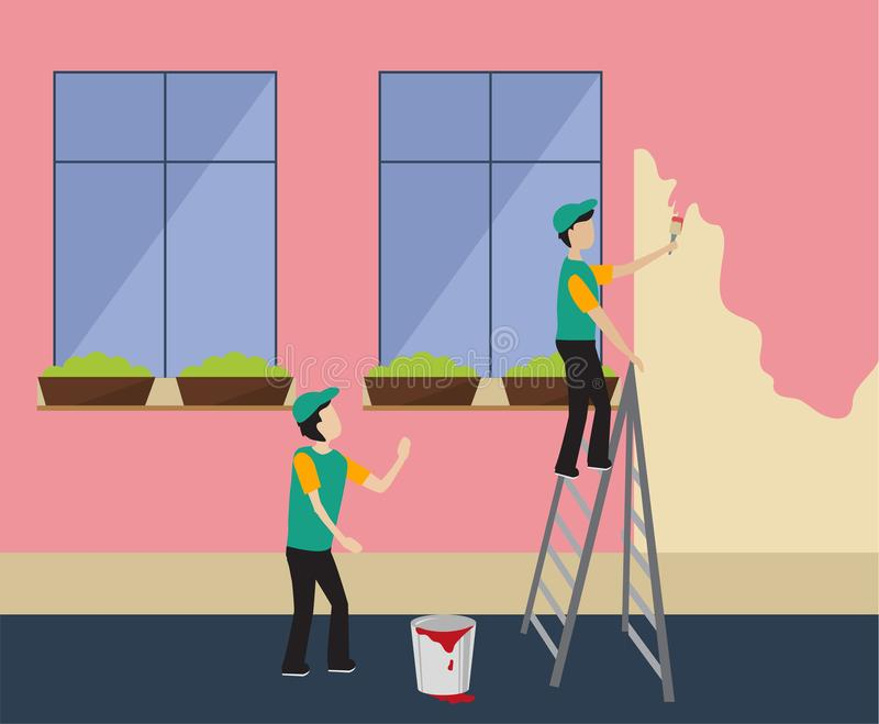 Workers paint the wall in pink. House Cladding outside vector illustration