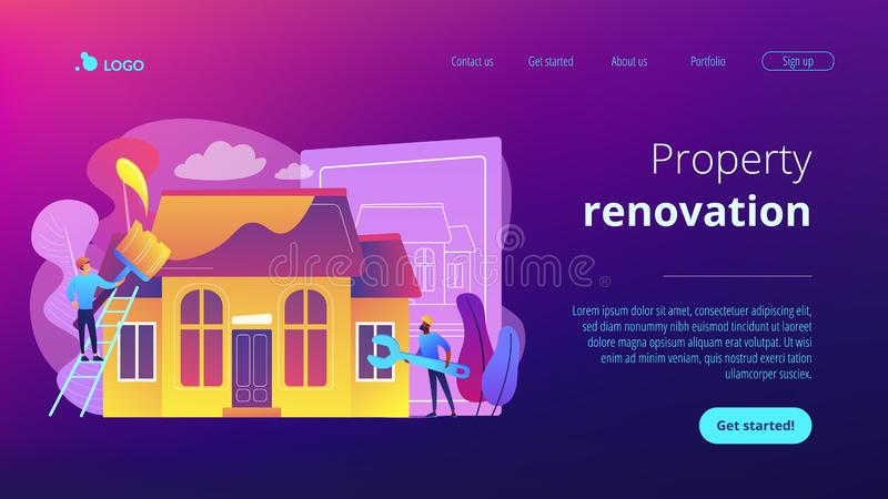 House renovation concept landing page. Workers with paintbrush and wrench improving the house. House renovation, property renovation, house remodeling and royalty free illustration