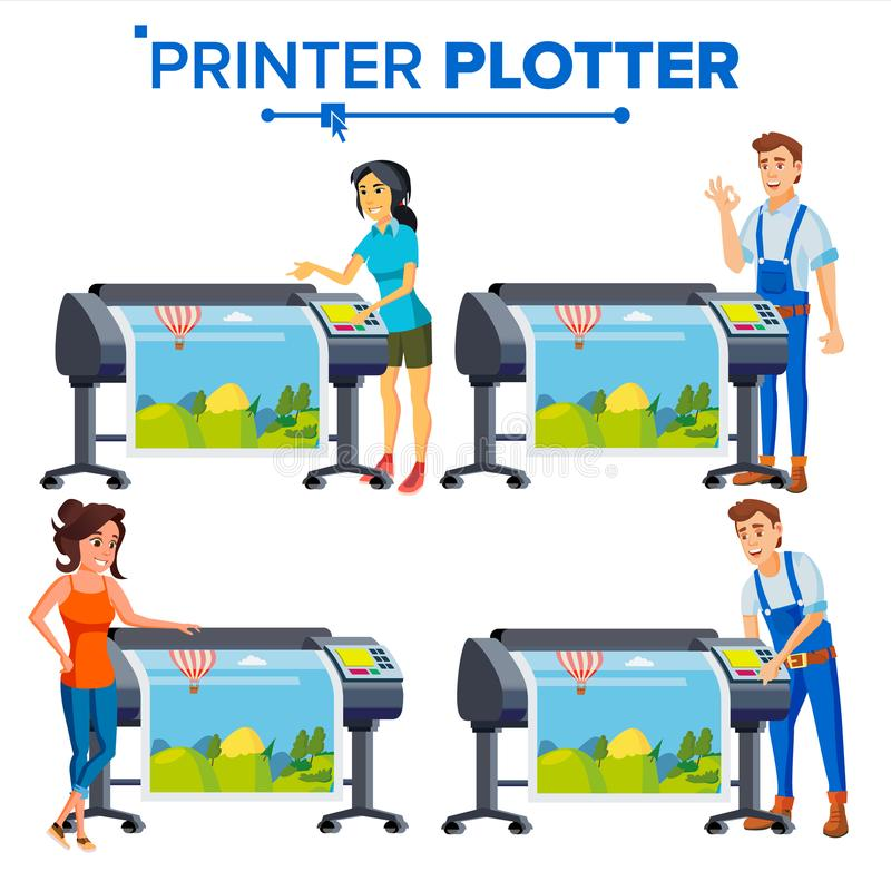 Workers With Plotter Set Vector. Woman, Man. Prints Beautiful Picture, Banner. Print Service. Large Format Multifunction royalty free illustration