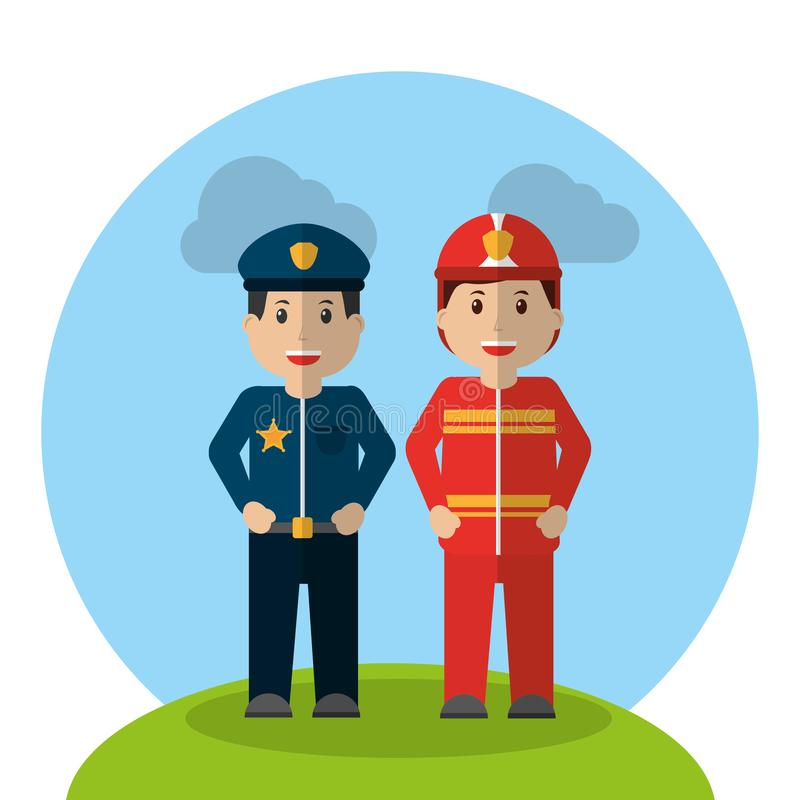 Workers profession policeman and fireman standing cartoon stock illustration
