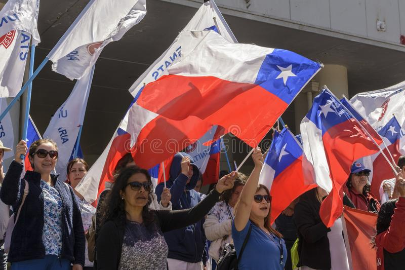 Workers protest day in Chile stock photography