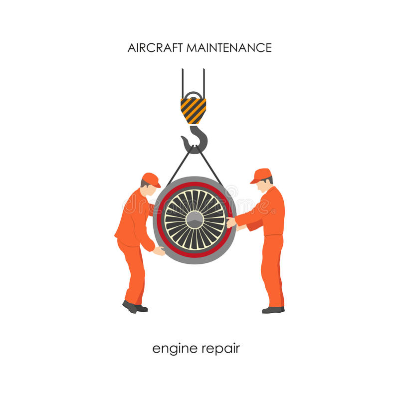 Workers raised the aircraft engine on a lift. Repair and maintenance of aircraft. Vector illustration royalty free illustration