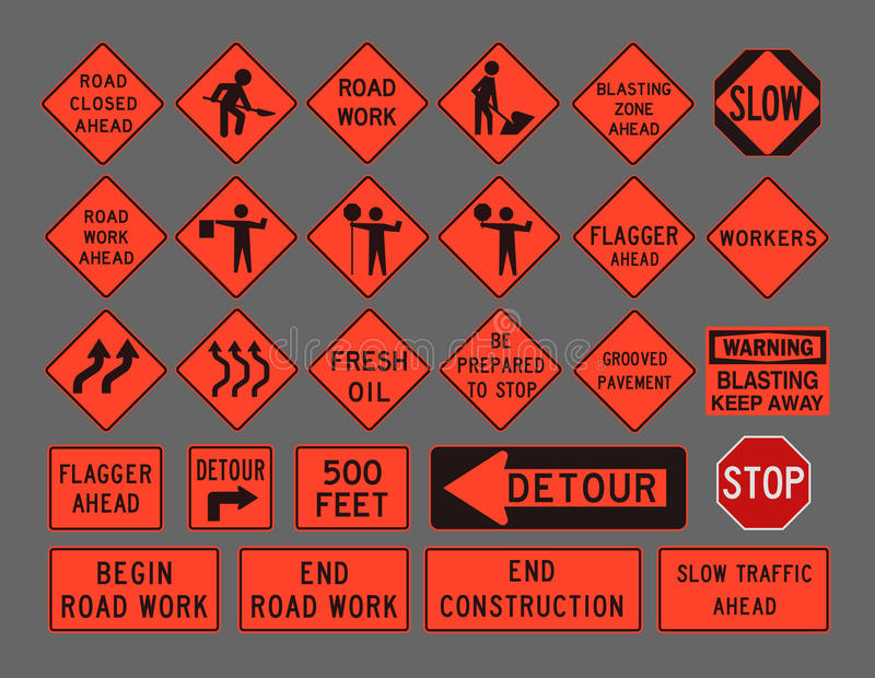 Workers road signs. Vector illustration of differents Workers, construction road signs vector illustration
