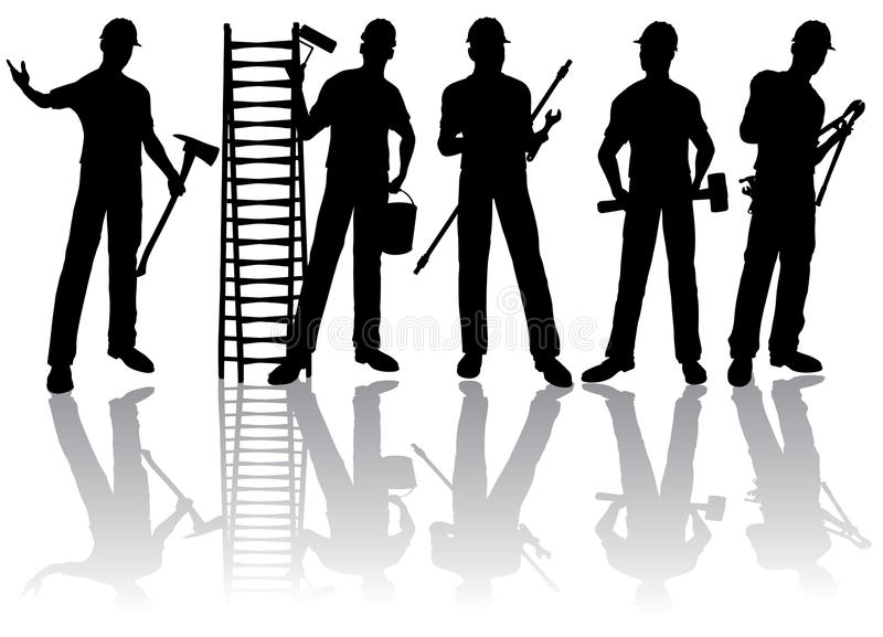 Workers  Silhouettes Stock Photos